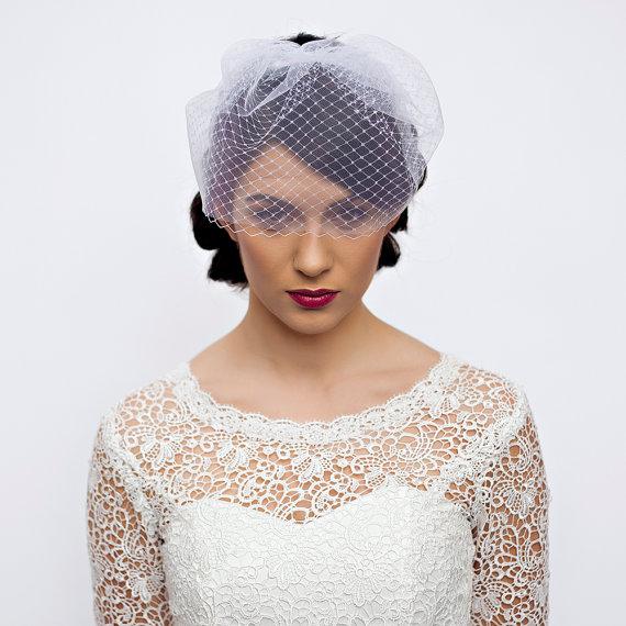 Wedding - Double Layer Blusher Veil - Full Birdcage Veil - Wedding Veil Blusher of Tulle and Netting