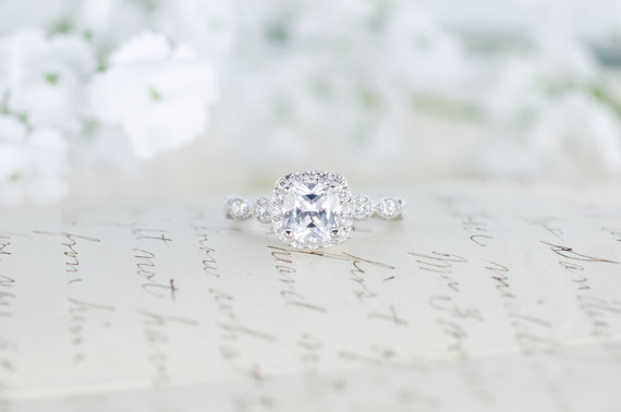 Hochzeit - SALE - Art Deco Engagement Ring - Cushion Cut Ring - Halo Engagement Ring - Wedding Ring - Promise Ring - Sterling Silver - 1.3 Carat