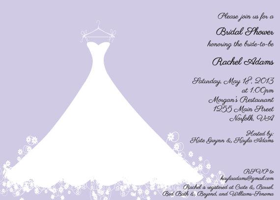 Printed bridal shower invitation lavender wedding gown bridal printed bridal shower invitation lavender wedding gown bridal luncheon bridal tea invitation filmwisefo Image collections