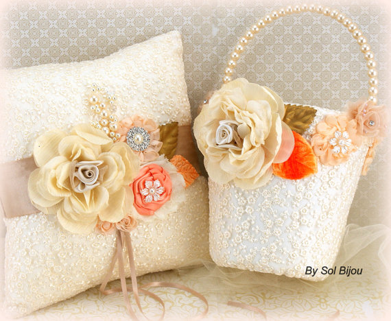 Hochzeit - Pearl Flower Girl Basket and Ring Bearer Pillow in Ivory, Gold, Peach, Orange, Tangerine, Tan, Beige and Champagne with Lace and Crystals