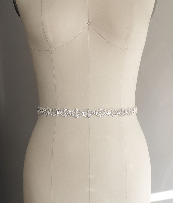 Thin Bridal Gown Sash, Wedding Dress Belt Sash, Thin Rhinestone ...