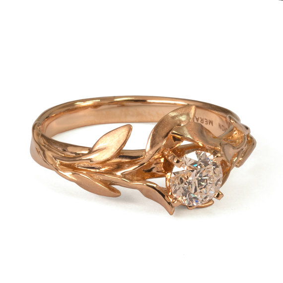 Leaves Engagement Ring No 4 18K Rose Gold And Diamond Engagement