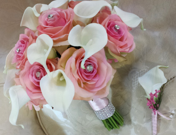 Wedding - Wedding bouquet-pink and ivory bridal bouquet in silk roses and real touch calla lilies with rhinestones
