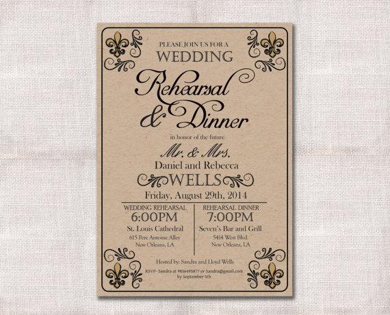 Mariage - Wedding Rehearsal Dinner invitation custom printable 5x7