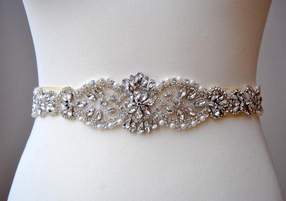 Mariage - Crystal Luxury Bridal Sash,Wedding Dress Sash Belt, Rhinestone Sash, Rhinestone Bridal Bridesmaid Sash Belt, Wedding dress sash