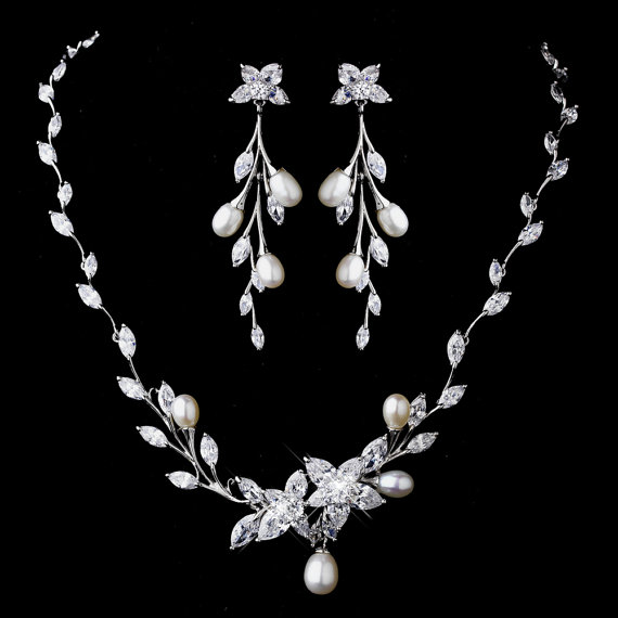 Bridal Jewelry Necklace And Earrings Set Pearl Rhinestone
