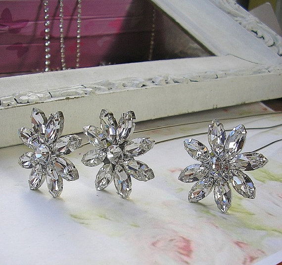 Mariage - bridal Jewelry Bouquet Stems,Brooch Silver Rhinestone Stems,Wedding Bouquet Accessories,diy bouquet, set of 3