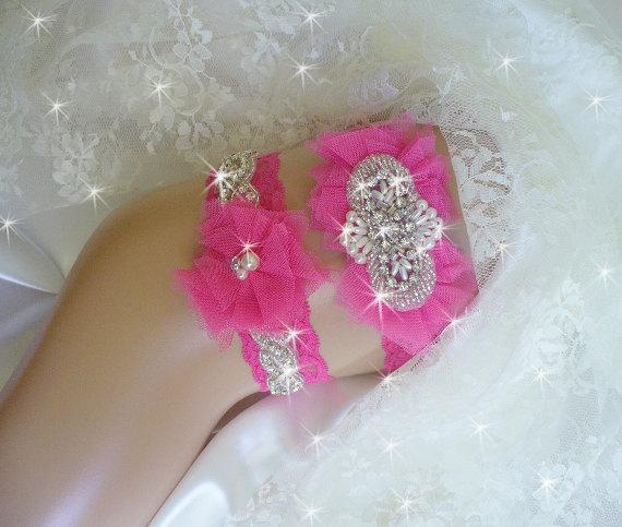 Mariage - Hot Pink Prom Garter, Wedding Garter Set, Bling Garters, Wedding Keepsake Bridal Accessories, Hot Pink Lace Garter, Rhinestone Garter Belt