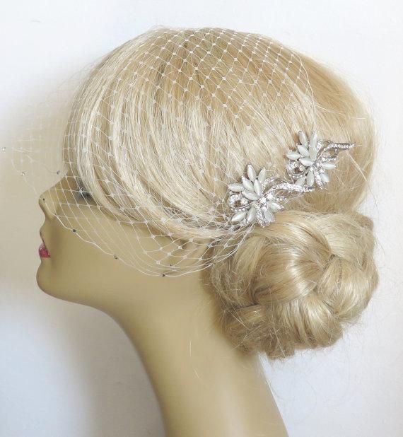 Mariage - Birdcage Veil and a 2 Hair Combs - ( 3 Items ) - Bridal Headpiece, Rhinestone Bridal Comb,Headpieces,  Weddings,Blusher Bird Cage Veil