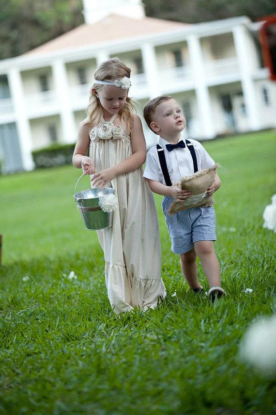 Mariage - Ivy..natural cotton rustic flower girl dress size 6,7,8 and up