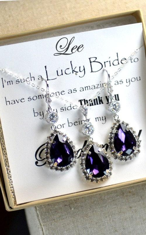 Mariage - Bridesmaid Wedding Bridal Jewelry Bridesmaid Jewelry-Bridesmaid gifts, purple amethyst,peacock wedding jewelry,drop dangle necklace,earrings