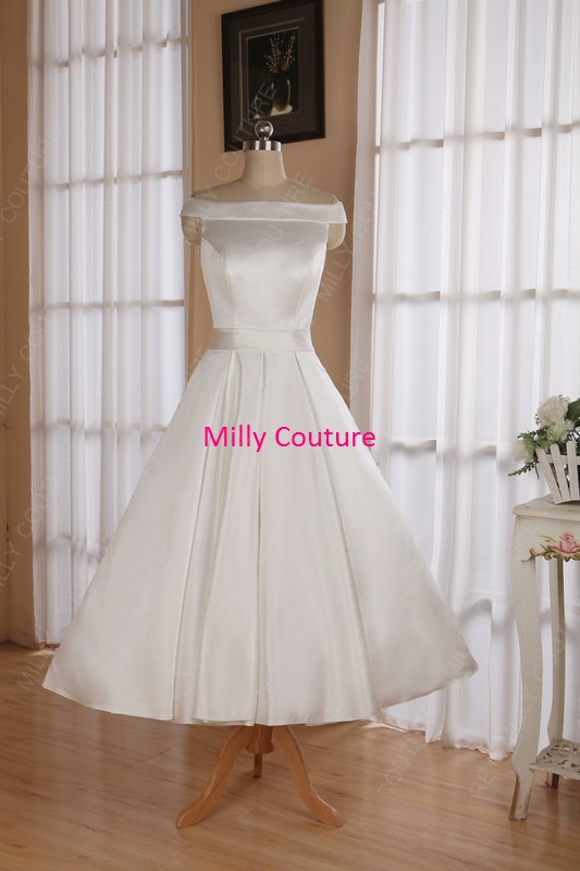 Off The Shoulders Tea Length Wedding Dresses Rockabilly 50s Retro Style Wedding Dress 1950