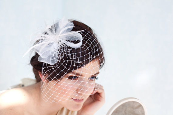 Mariage - Bridal birdcage veil with feather hairpiece, wedding feather fascinator