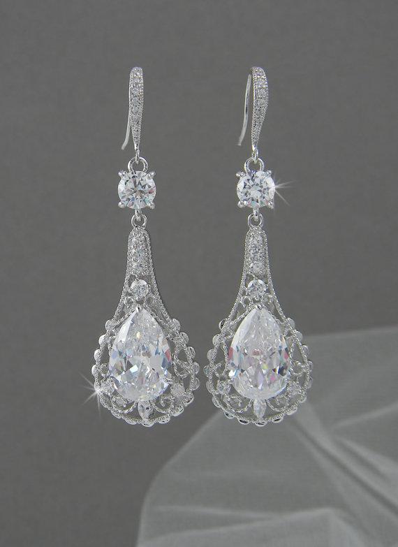 Mariage - Crystal Bridal Earrings, Wedding Earrings, Long Dangle,  Swarovski, Bridal Jewelry, Elle Vintage Earrings