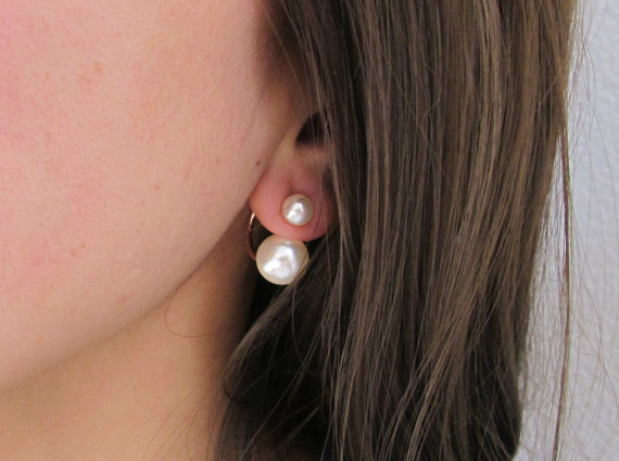 Double Pearl Ear Jackets Earrings Wedding Jewelry Bridesmaid Gift