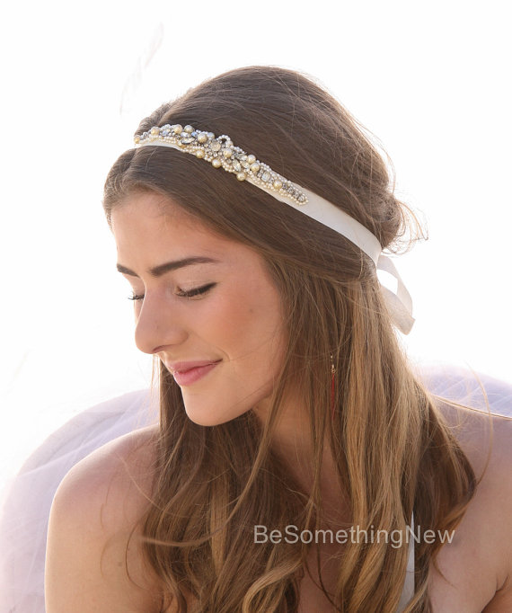 Mariage - Beaded Wedding Gown Sash or Headband with Vintage Rhinestones and Champagne Pearls, Sashes, Bridal Accessories, Wedding Ribbon Tie Headpiece