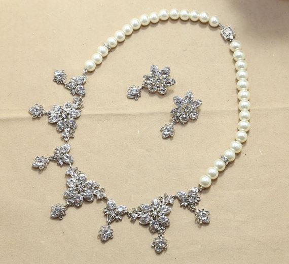 Mariage - Vintage Wedding Bridal Jewelry Set SWAROVSKI Pearl Rhinestone Crystals Necklace,Stud Earringsd-- Made To Order