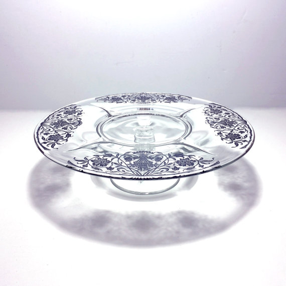 """Mariage - Vintage Silver Overlay Glass Pedestal Cake Stand with Flower Bouquet Pattern, 12.5"""" Across"""