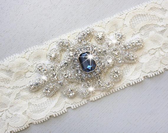Hochzeit - SALE - RACHEL - Keepsake Garter - Sapphire Blue Wedding Garter, Vintage Stretch Lace Garter, Rhinestone Bridal Garter, Something Blue