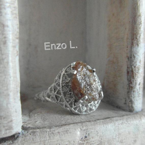Hochzeit - Art Deco-free form diamond-sterling silver one of a kind engagement ring