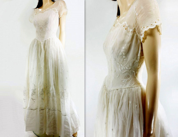 60s Wedding Dress Vintage Cotton Organza Scalloped Eyelet Sheer Cap Sleeve Lace Sweet Xs