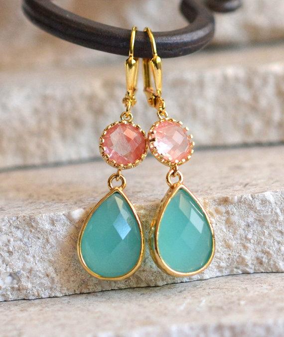 Mariage - Aqua and Grapefruit Pink Dangle Earrings in Gold. Coral Drop Earrings. Dangle. Bridesmaid Gift. Wedding. Bridal Jewelry. Aqua Earrings.