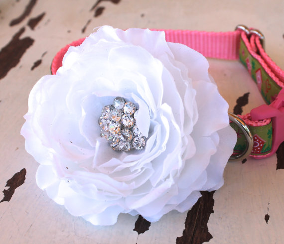 Свадьба - Wedding White Cottage Rose Dog Collar Add On,  Dog Collar Accessory, Special Occasion Flower, Rhinestone Center