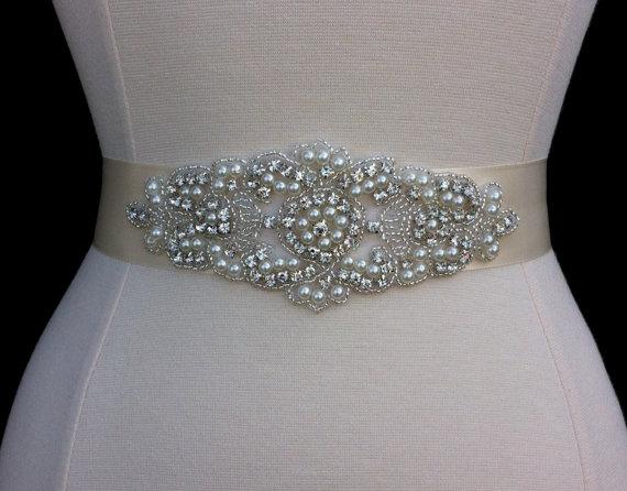 Mariage - Wedding Sash / Bridal Sash / Rhinestone Wedding Sash / Wedding Dress Belt