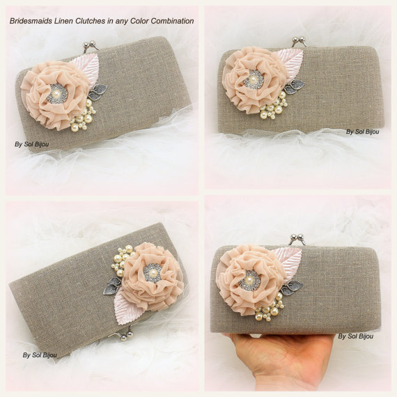 Mariage - Linen Clutch, Bridal, Bridesmaids Clutches, Maid of Honor, Shabby Chic, Rustic Wedding in Blush, Silver, Ivory and Light Pink -Set of 4