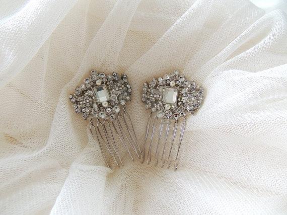 Mariage - Wedding Bridal Crystal Side Small Hair Combs, Birdcage Veil Combs, Veil Hair Clips