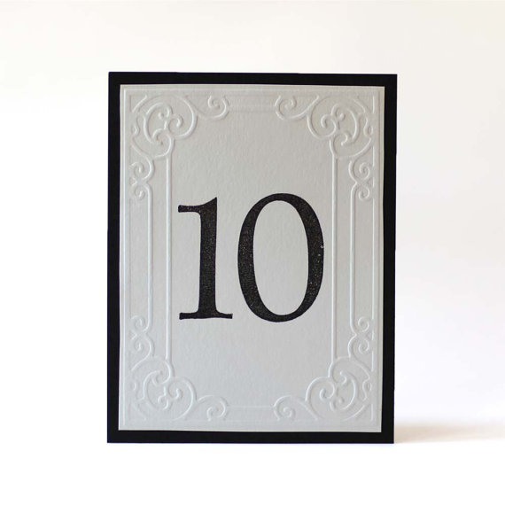 Mariage - Embossed & Hand Stamped Wedding Table Numbers, Fancy, Custom Color