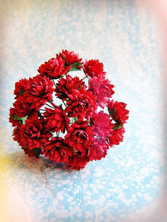 Cranberry Red Dahlias Vintage Style Millinery Flower Bouquet - For ...