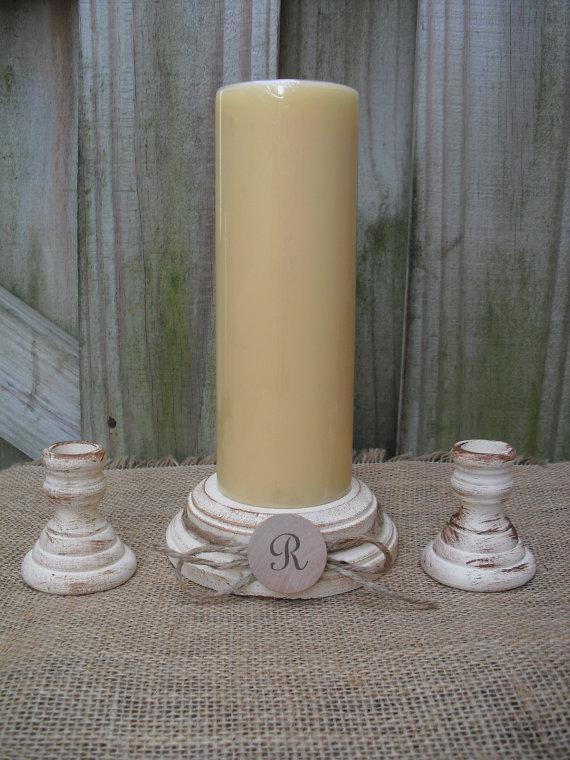 Свадьба - Shabby Chic Wood Wedding Monogram Unity Candle Holder Set - You Pick Color - Item 1562