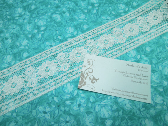 Wedding - 1 yard of 2 1/4 inch White Chantilly Insertion Lace trim for bridal, baby, costume design, couture, lingerie by MarlenesAttic - Item R8