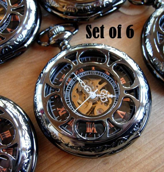 Свадьба - Set of 6 Pocket Watches with Chains Gunmetal Black Engravable Personalized Groomsmen Gift Wedding Pocket Watch