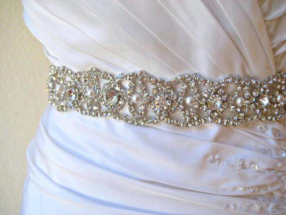 Mariage - Bridal beaded swarovski pearl, crystal sash. Rhinestone embellished wedding belt. CRYSTAL PEARLA