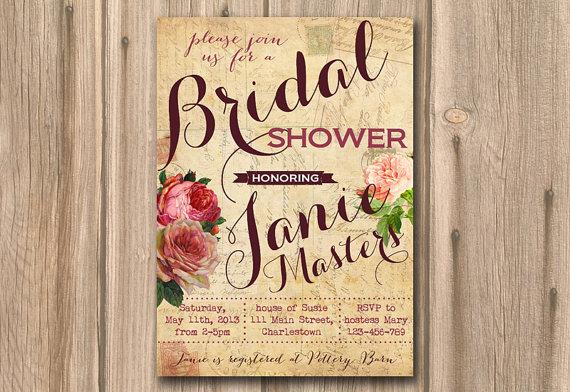 Hochzeit - bridal shower invitation, bridal shower invite, wedding shower, printable bridal shower, printable invite, love letters, digital invitation