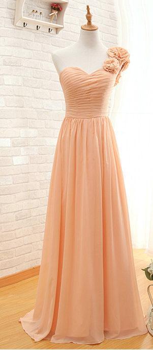 Mariage - Flower One Shoulder Peach Sweetheart Chiffon Long Prom Dress