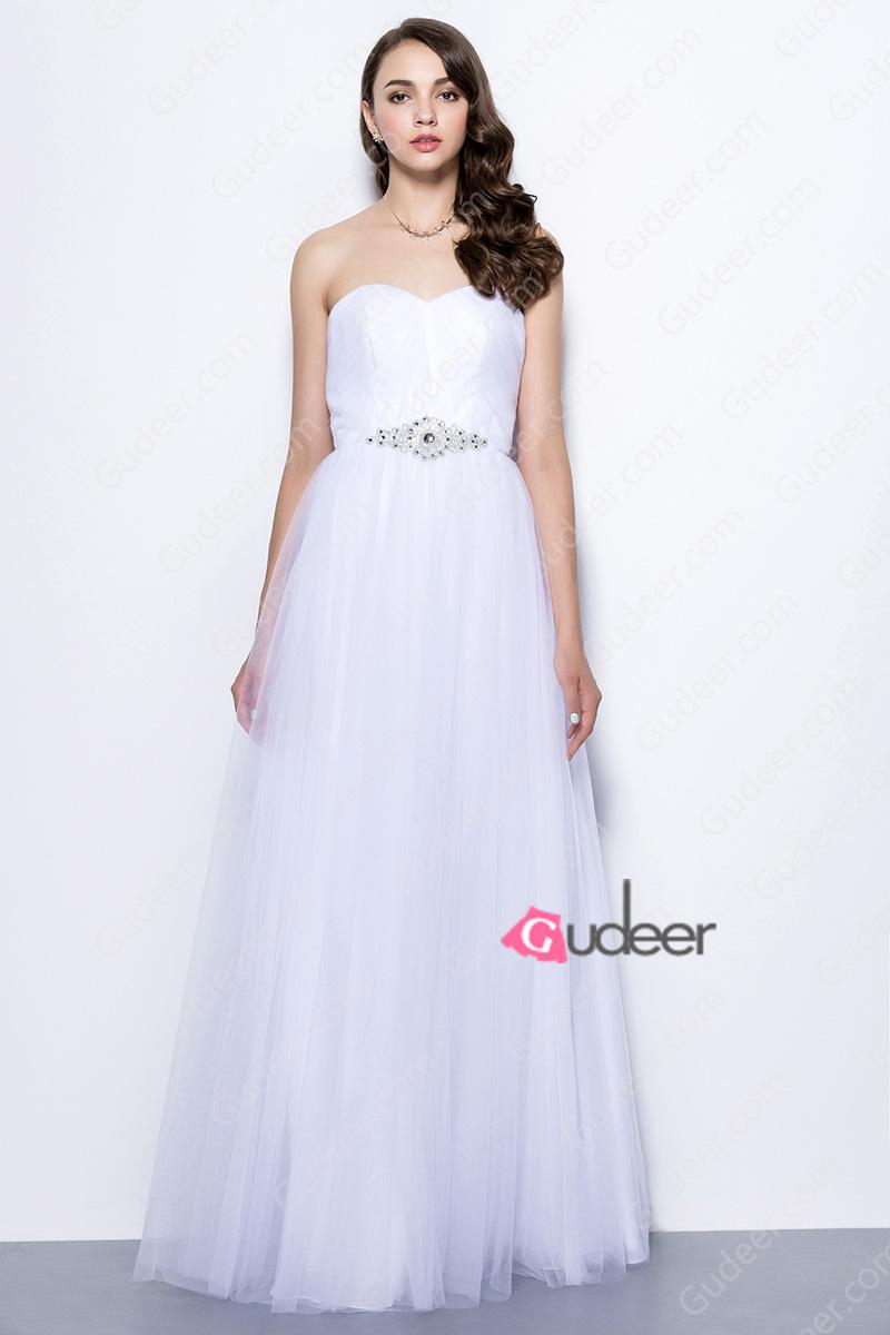 Wedding - White Tulle Strapless Sweetheart Long Bridesmaid Dress with Brooch