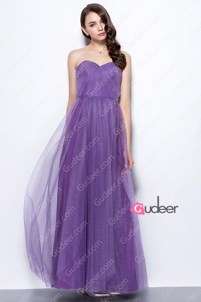 Wedding - Purple Strapless Sweetheart Pleated Long Tulle Bridesmaid Dress