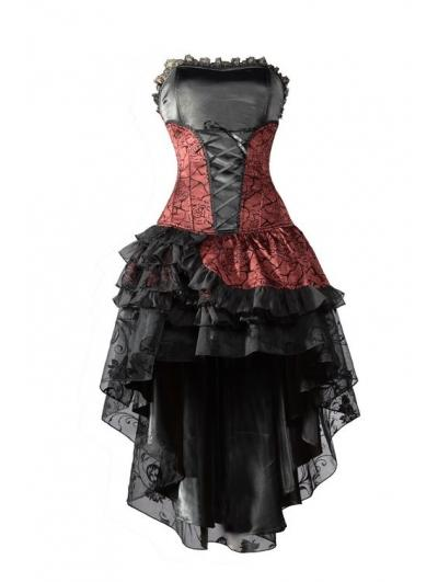 Wedding - Red Corset High-Low Layer Skirt Gothic Party Dress