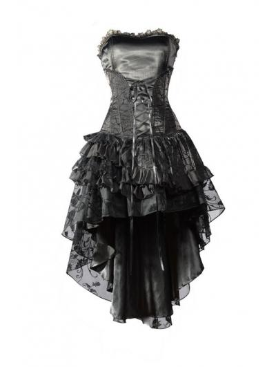 Wedding - Black Corset High-Low Layer Skirt Gothic Party Dress
