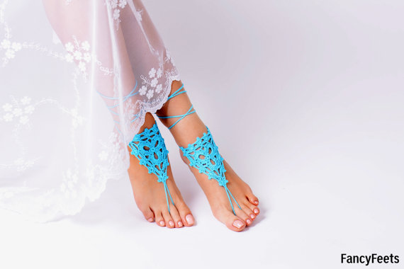 Crochet Aqua Barefoot Sandals Foot Jewelry Bridesmaid Accessory Sandles Anklet Wedding Shoes Beach Summer