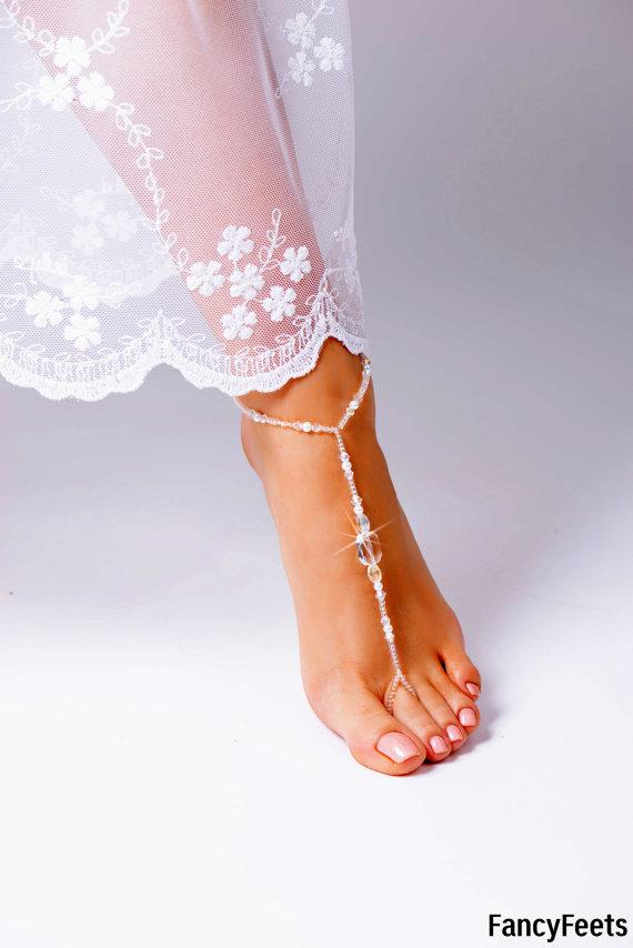 Wedding - Barefoot Sandals, Beaded barefoot sandals, Beach wedding Barefoot Sandal, Pearl Barefoot shoes, Bridal Barefoot Sandals, footless sandal