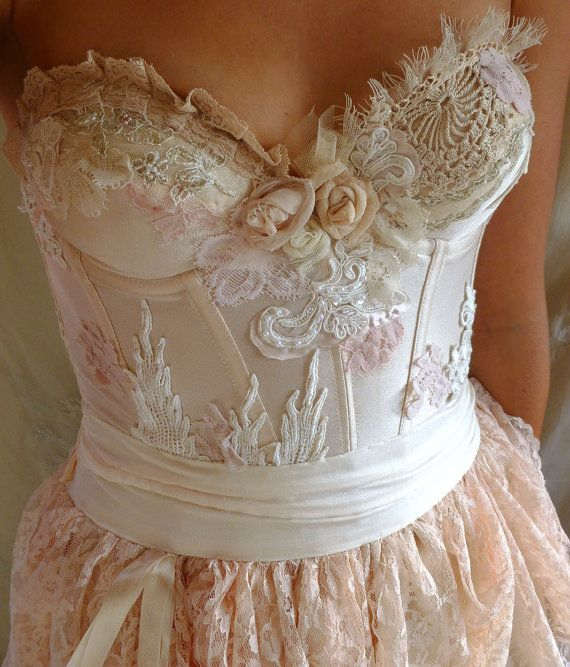 Pearl Bustier Gown Wedding Dress Boho Whimsical Fairy Woodland Country Shabby Chic Rococo Prom Formal Free People