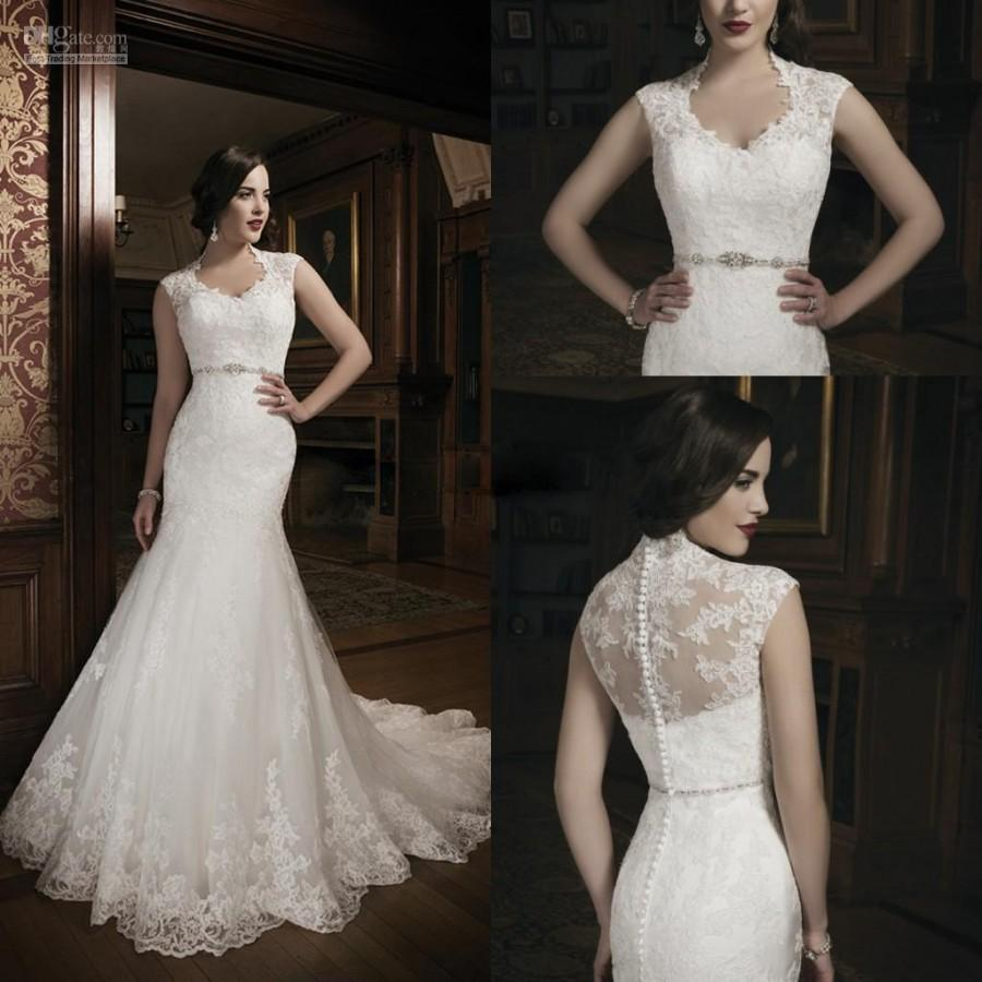 2014 New Style High Neck Mermaid Wedding Dresses Bridal Gowns For Chapel Bride Vintage Lace Court Train Charming Cheap Satin Online With
