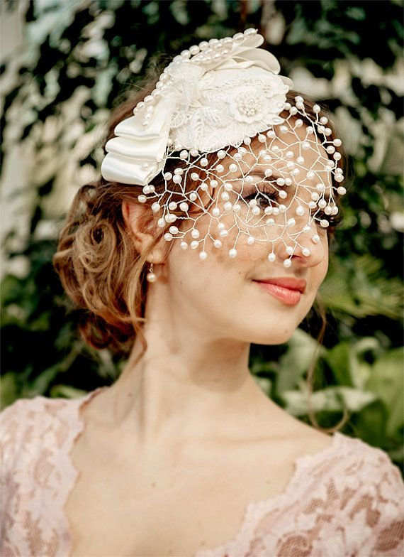 Свадьба - Bridal Veil MARGO – Detachable Pearl Birdcage Veil With Mini Hat, Fresh Water Pearls, Lace Applique' And Bow, Made To Order