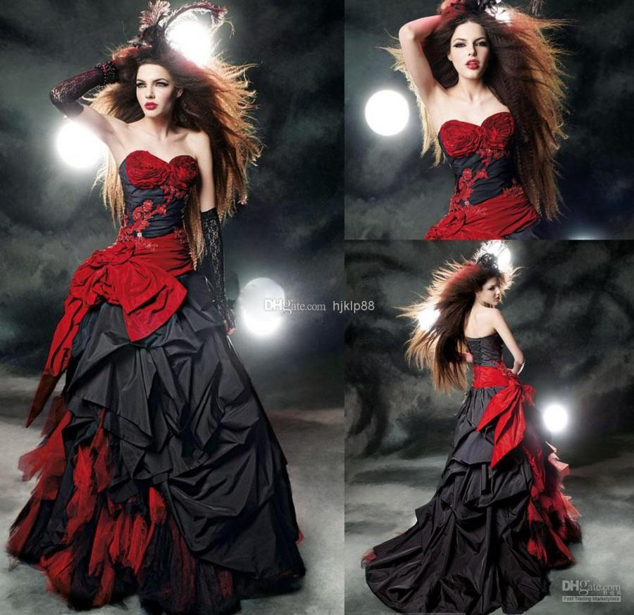 Custom Made Dress Black And Red Wedding Gown Beads Appliques Bow