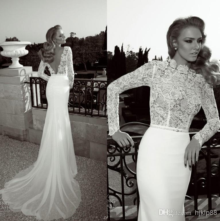 Zoog studio 2014 vintage lace bodice high collar sheer for Lace sleeve backless wedding dress