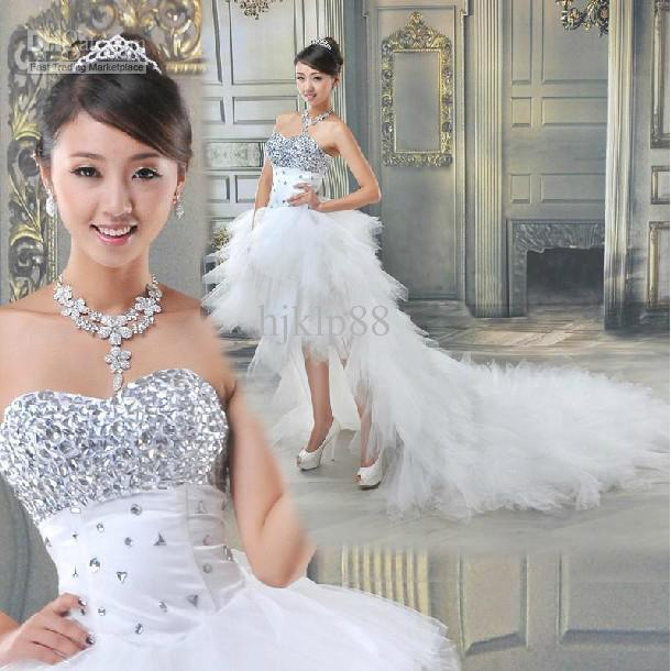 New sexy sweetheart beading crystal high low net wedding for Sexy high low wedding dresses